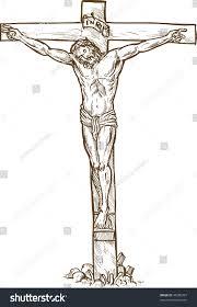 hand drawn sketch illustration jesus christ stock illustration