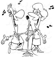 cartoon vector of cartoon couple singing coloring page outline