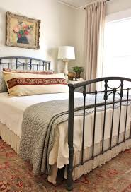wrought iron headboard king queen size metal bed frame with black