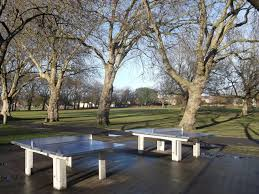 tables in central park metal badminton tables central park david anstiss cc by sa 2 0