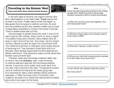 traveling to the distant west reading comprehension reading
