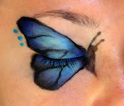 butterfly eyeshadow up hair and nail ideas