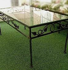 wrought iron patio coffee table with ivy design and glass top ebth