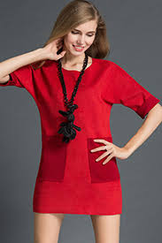 red suede front pocket casual dress casual dresses women casual
