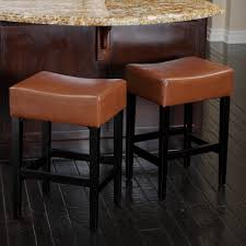 Backless Counter Stool Leather Kitchen Country Brown Leather Backless Counter Stools