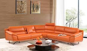 Orange Leather Sectional Sofa Modern Orange Leather Sectional Sofa Ef533 Leather Sectionals