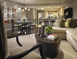 stylish painted grey open floor plan kitchen living and dining