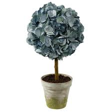 Flower Topiary Faux Blue Hydrangea Dried Topiary In Clay Pot 20