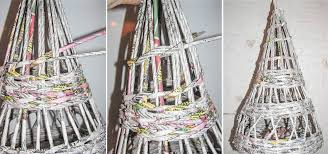 christmas tree made of newspaper tubes purple saving