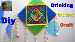 diy wall hanging with drinking straw wall decoration home