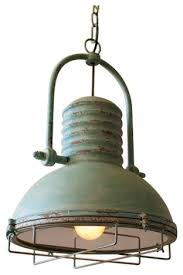 rustic industrial pendant lighting bseid antique turquoise pendant light with glass and wire cage