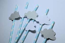 Blue Baby Shower Decorations Blue And Grey Cloud Straws Dream Big Baby Shower Decorations Up