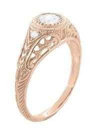 rose gold filigree low profile antique style diamond engagement