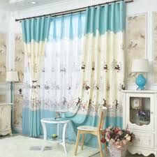 Teal And Beige Curtains Baby Blue Print Velvet Fresh Kids Curtains