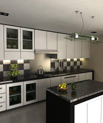 endearing black and white kitchens with custom racks and kitchen stylish black and white kitchens with checkerboard backsplash tiles and compact black island
