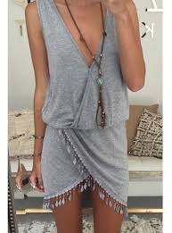 boho wrap boho mini dress medium gray wrap style v neck