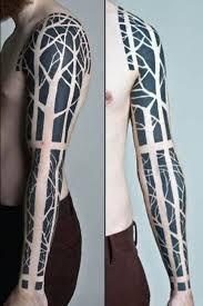 sleeve negative space tree tattoos tatoo