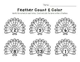 turkey feather count u0026 color printable