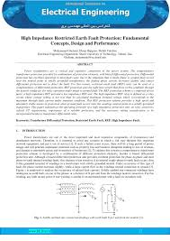 high impedance restricted earth fault protection fundamental