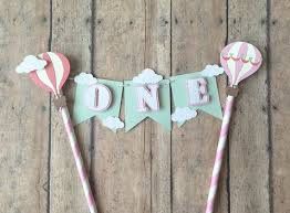 air cake topper hot air balloon cake topper cake bunting one cake topper