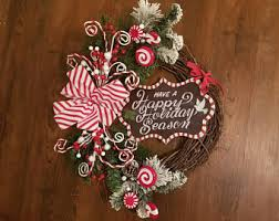 peppermint wreath etsy