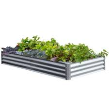 galvanized steel raised garden beds garden center the home depot
