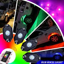nissan juke green auto light flashing 4pcs multi colors lamp pod rgb led rock lights wireless bluetooth