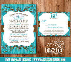 wedding invitations and rsvp western turquoise and brown wedding invitation rsvp card included