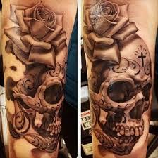 skull and roses sleeve design ideas