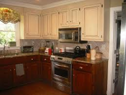 Backsplash Neutrals Kitchen Decor Amazing Lighting Valance And Crown Molding With Two Tone Kitchen Cabinets