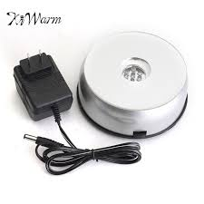 kiwarm white 7 led light unique 3d electric rotating base