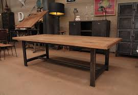 Craftsman Style Dining Room Furniture by Large Industrial Style Dining Table With Solid Acacia Top And Gun
