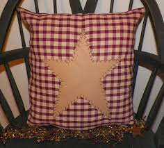 unstuffed primitive pillow cover barn star prim country red