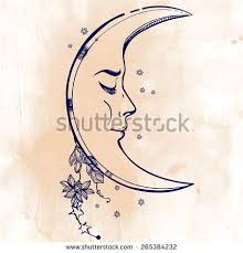 beautiful crescent moon flowers stock vector