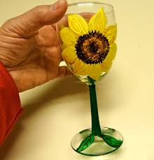 wine glass painting make it easy crafts hand painted sunflower wine glass
