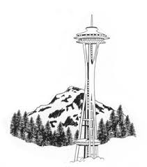 mt rainier with space needle pacific northwest make an impression