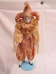 vintage porcelain harlequin jester 17 doll mardi gras