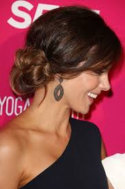 low bun prom hairstyles with side bangs for long hair women