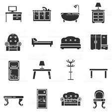 home interior monochrome icons set stock vector art 867750376 istock