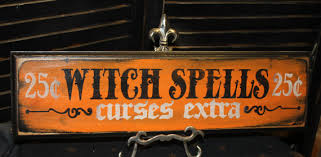 witch spells sign curses extra wood sign handpainted halloween
