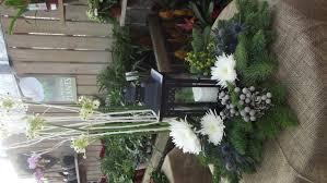 christmas tree lantern floral arrangement with carol bone