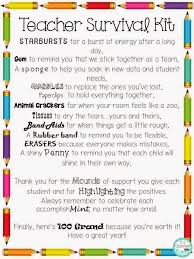 back to freebie teacher survival kit ideas and letter