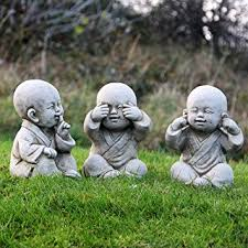 large set of 3 wise buddha no see hear speak evil monk