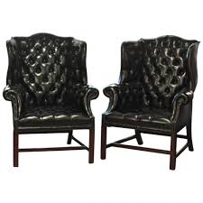 Armchair Black Design Ideas Chairs Best Wingback Chair And Ottoman Black Leather Measure