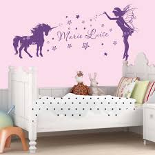 wall tattoo unicorn elf with names stars stars kid s room wall wall sticker