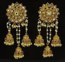 goldtone women dangle jhumka earring set traditional new jewellery