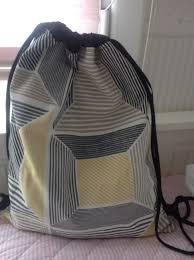 mochila de cuerdas con bolsillo interior tela de ikea handmade