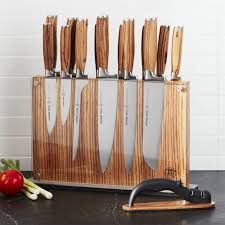 block wood schmidt brothers 15 zebra wood knife block set crate and