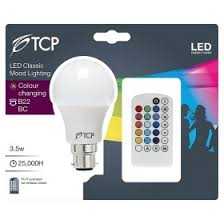 color changing light bulb with remote tcp 7w led bc gls light bulb asda groceries