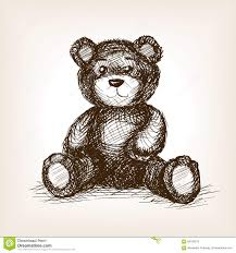 teddy bear toy hand drawn sketch style vector stock vector image